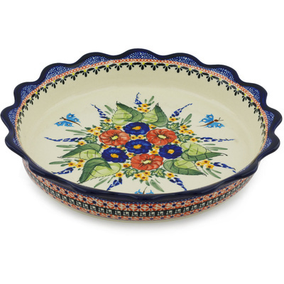 "Polish Pottery Fluted Pie Dish 11"" Spring Splendor UNIKAT"