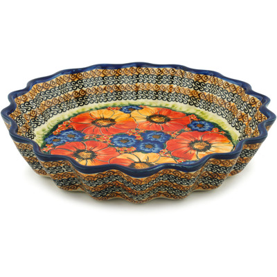 "Polish Pottery Fluted Pie Dish 12"" Bright Beauty UNIKAT"