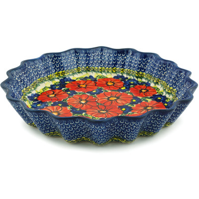 "Polish Pottery Fluted Pie Dish 12"" Red Star UNIKAT"