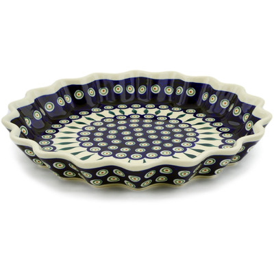 "Polish Pottery Fluted Pie Dish 13"" Peacock Leaves"