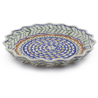 "Polish Pottery Fluted Pie Dish 13"" Pine Boughs"