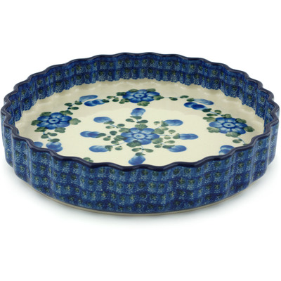 "Polish Pottery Fluted Pie Dish 9"" Blue Poppies"