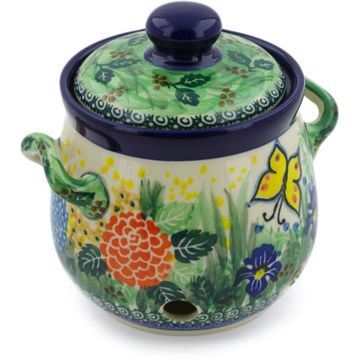 "Polish Pottery Garlic and Onion Jar 6"" Spring Garden UNIKAT"