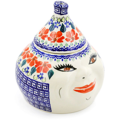 "Polish Pottery Garlic and Onion Jar 7"" Grecian Fields"