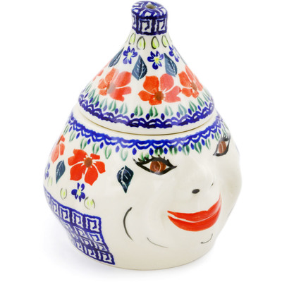 "Polish Pottery Garlic Jar 7"" Grecian Fields"