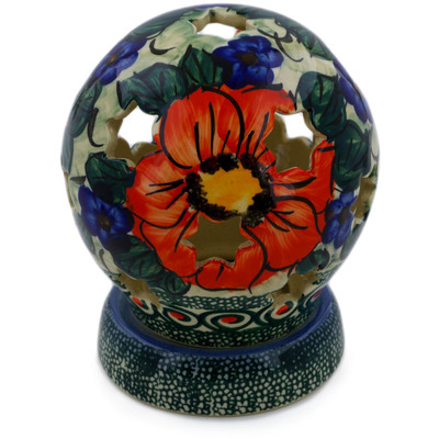 "Polish Pottery Globe Shaped Candle Holder 5"" Havana UNIKAT"