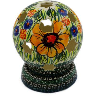 "Polish Pottery Globe Shaped Candle Holder 5"" Yellow Flower UNIKAT"