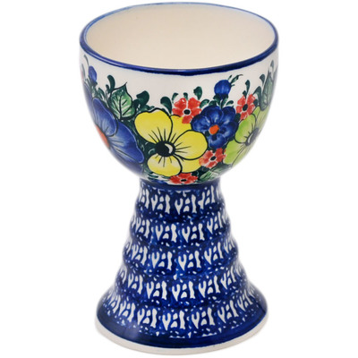 Polish Pottery Goblet 5 oz Summertime Blues UNIKAT