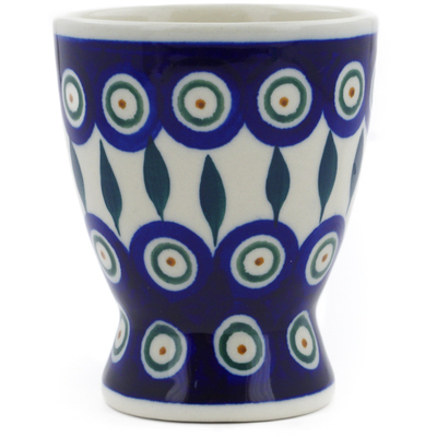 Polish Pottery Goblet 6 oz Peacock Leaves