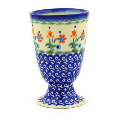Polish Pottery Goblet 7 oz Spring Flowers