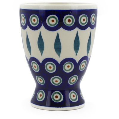 Polish Pottery Goblet 9 oz Peacock Leaves