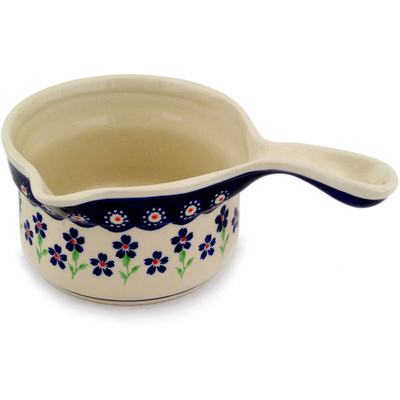 Polish Pottery Gravy Boat 18 oz Bright Peacock Daisy