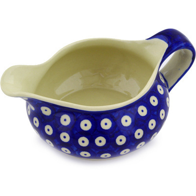 Polish Pottery Gravy Boat 19 oz Blue Eyed Peacock