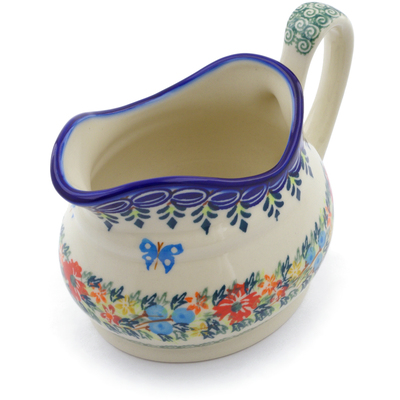 Polish Pottery Gravy Boat 19 oz Red Cornflower And Blue Butterflies UNIKAT