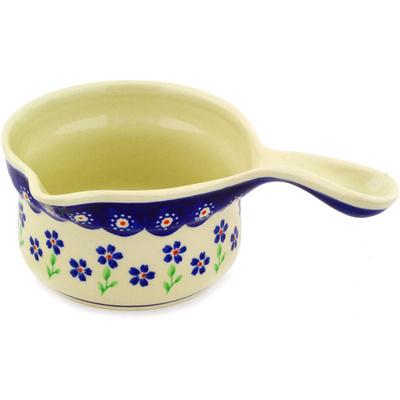 Polish Pottery Gravy Boat 8 oz Bright Peacock Daisy