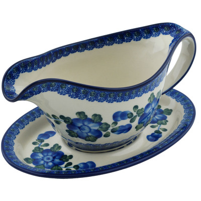 Polish Pottery Gravy Boat with Saucer 16 oz Blue Poppies