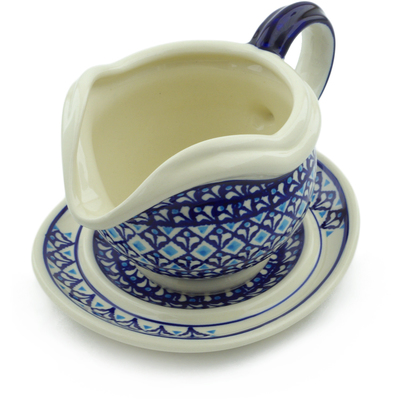 Polish Pottery Gravy Boat with Saucer 22 oz Blue Diamond
