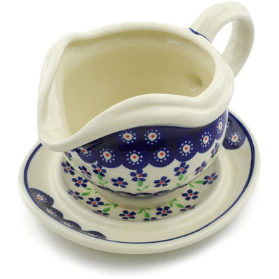 Polish Pottery Gravy Boat with Saucer 22 oz Bright Peacock Daisy