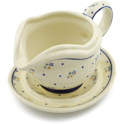 Polish Pottery Gravy Boat with Saucer 22 oz Country Meadow