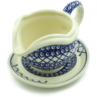 Polish Pottery Gravy Boat with Saucer 22 oz Lattice Peacock