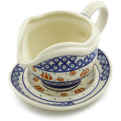 Polish Pottery Gravy Boat with Saucer 22 oz Pumpkin Spice