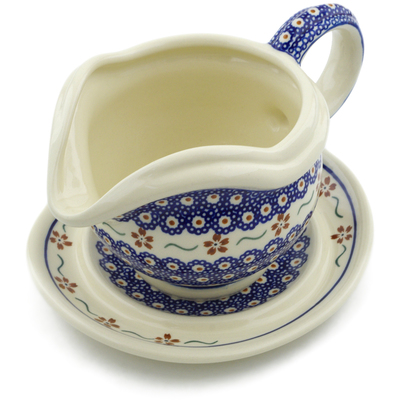 Polish Pottery Gravy Boat with Saucer 22 oz Sweet Red Flower