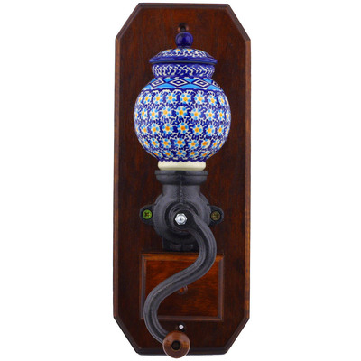 "Polish Pottery Hanging Coffee Grinder 14"" Blue Daisy UNIKAT"