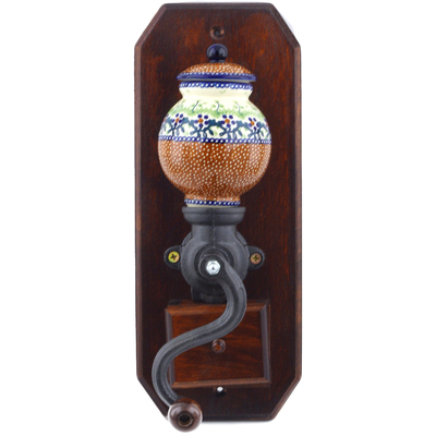 "Polish Pottery Hanging Coffee Grinder 14"" Country Berries UNIKAT"