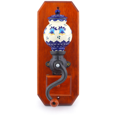 "Polish Pottery Hanging Coffee Grinder 14"" Country Sunrise UNIKAT"