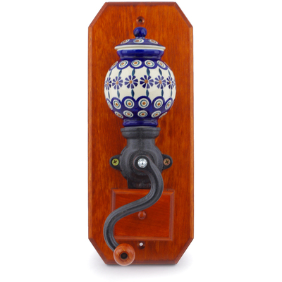 "Polish Pottery Hanging Coffee Grinder 14"" Peacock"