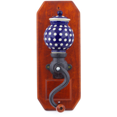 "Polish Pottery Hanging Coffee Grinder 14"" Polka Dot"