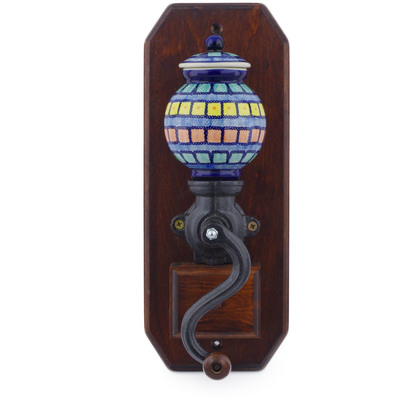 "Polish Pottery Hanging Coffee Grinder 14"" Stained Glass"