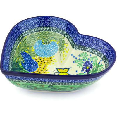 "Polish Pottery Heart Shaped Bowl 11"" Spring Garden UNIKAT"
