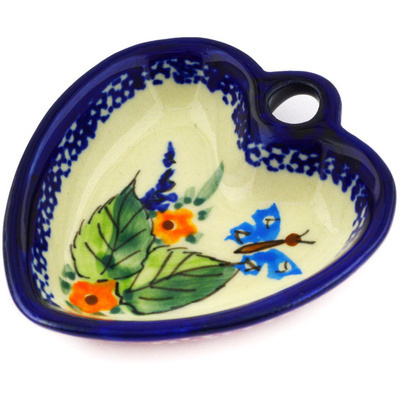 "Polish Pottery Heart Shaped Bowl 3"" Spring Splendor UNIKAT"