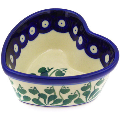 "Polish Pottery Heart Shaped Bowl 4"" Bleeding Heart Peacock"