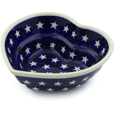 "Polish Pottery Heart Shaped Bowl 6"" America The Beautiful"