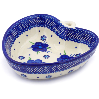 "Polish Pottery Heart Shaped Bowl 6"" Bleu-belle Fleur"