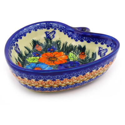 "Polish Pottery Heart Shaped Bowl 6"" Butterfly Splendor UNIKAT"