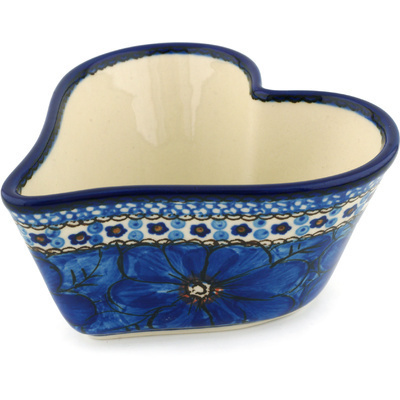"Polish Pottery Heart Shaped Bowl 6"" Cobalt Poppies UNIKAT"