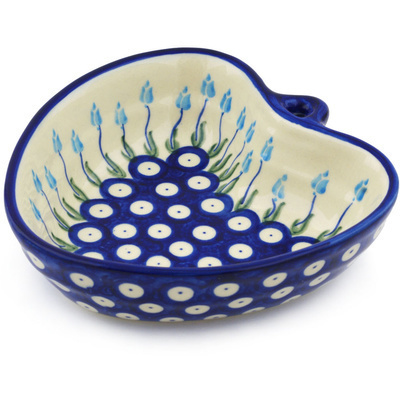 "Polish Pottery Heart Shaped Bowl 6"" Peacock Tulip Garden"