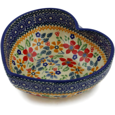 "Polish Pottery Heart Shaped Bowl 6"" Ruby Bouquet UNIKAT"