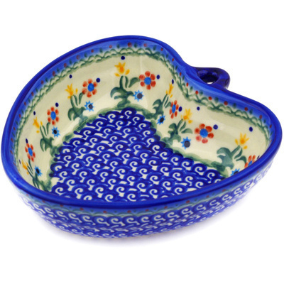"Polish Pottery Heart Shaped Bowl 6"" Spring Flowers"
