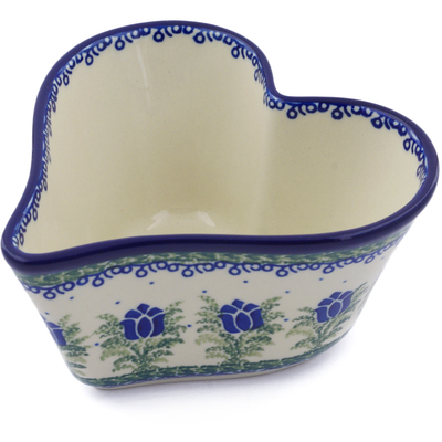 "Polish Pottery Heart Shaped Bowl 6"" Tulip Motif UNIKAT"