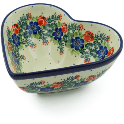 "Polish Pottery Heart Shaped Bowl 7"" Polish Wreath"