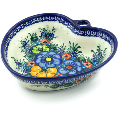 "Polish Pottery Heart Shaped Bowl 8"" Summertime Blues UNIKAT"