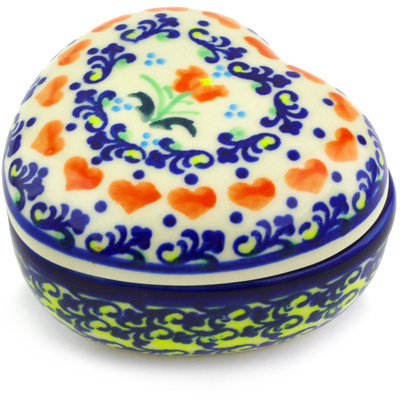 "Polish Pottery Heart Shaped Jar 4"" Circle Of Hearts"