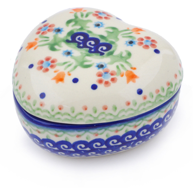"Polish Pottery Heart Shaped Jar 4"" Spring Flowers"