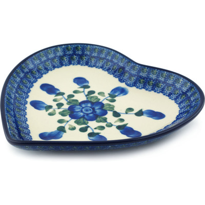 "Polish Pottery Heart Shaped Platter 7"" Blue Poppies"