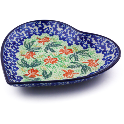 "Polish Pottery Heart Shaped Platter 7"" Red Hibiscus"