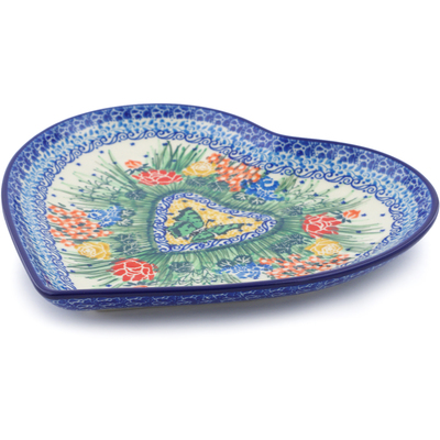 "Polish Pottery Heart Shaped Platter 9"" Springtime Butterfly UNIKAT"
